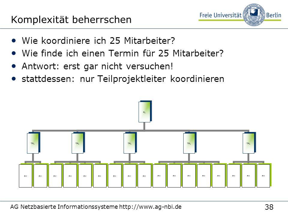 38 AG Netzbasierte Informationssysteme http://www.ag-nbi.de Komplexität beherrschen Wie koordiniere ich 25 Mitarbeiter? Wie finde ich einen Termin für
