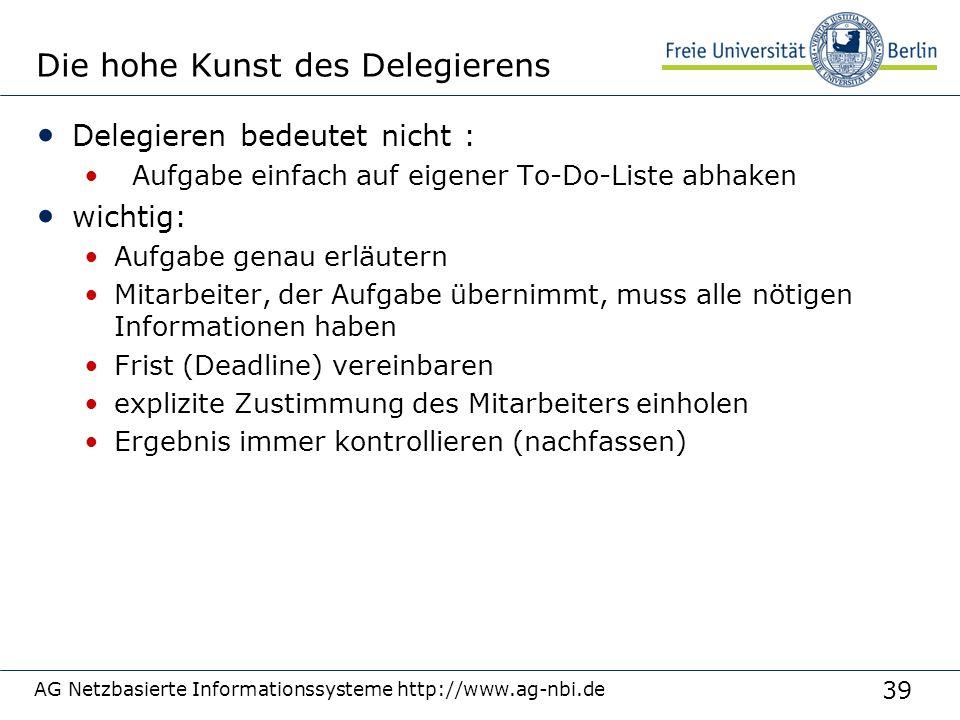39 AG Netzbasierte Informationssysteme http://www.ag-nbi.de Die hohe Kunst des Delegierens Delegieren bedeutet nicht : Aufgabe einfach auf eigener To-