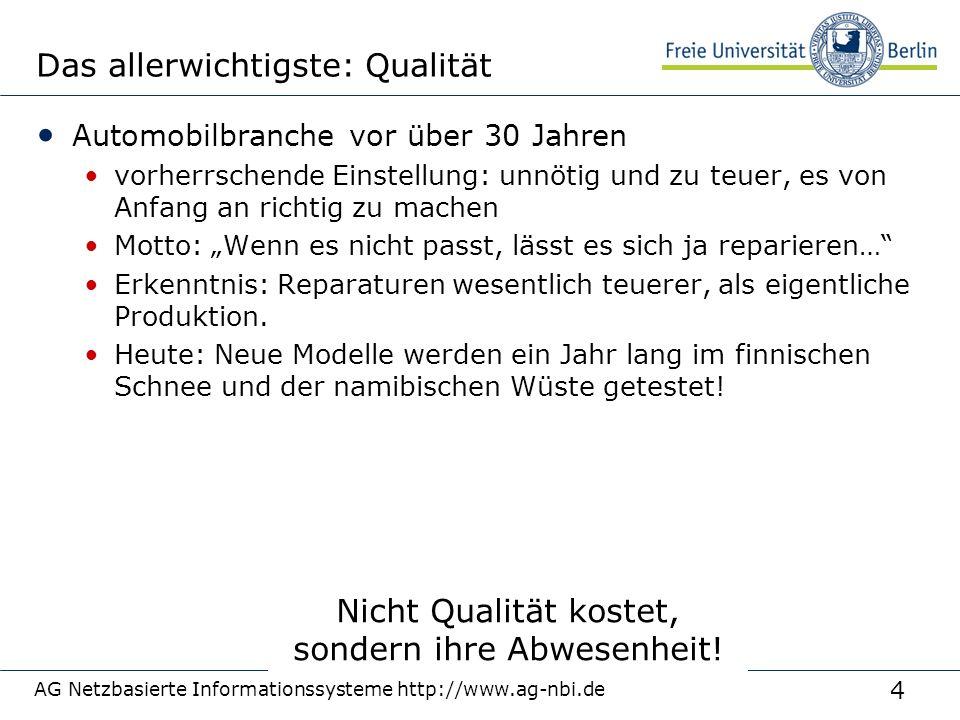 4 AG Netzbasierte Informationssysteme http://www.ag-nbi.de Das allerwichtigste: Qualität Automobilbranche vor über 30 Jahren vorherrschende Einstellun