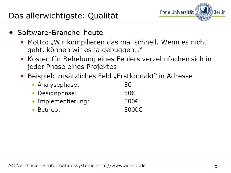 5 AG Netzbasierte Informationssysteme http://www.ag-nbi.de Das allerwichtigste: Qualität Software-Branche heute Motto: Wir kompilieren das mal schnell