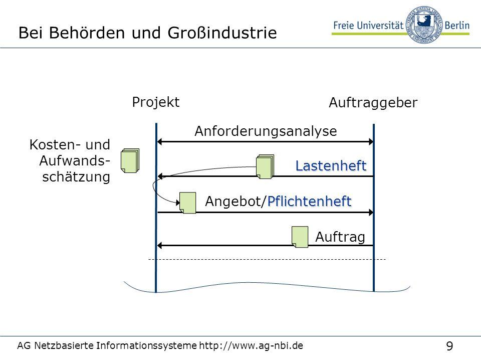 9 AG Netzbasierte Informationssysteme http://www.ag-nbi.de Bei Behörden und Großindustrie Projekt Auftraggeber Anforderungsanalyse Lastenheft Kosten-