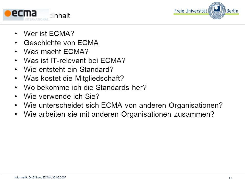 Wer ist ECMA. Geschichte von ECMA Was macht ECMA.