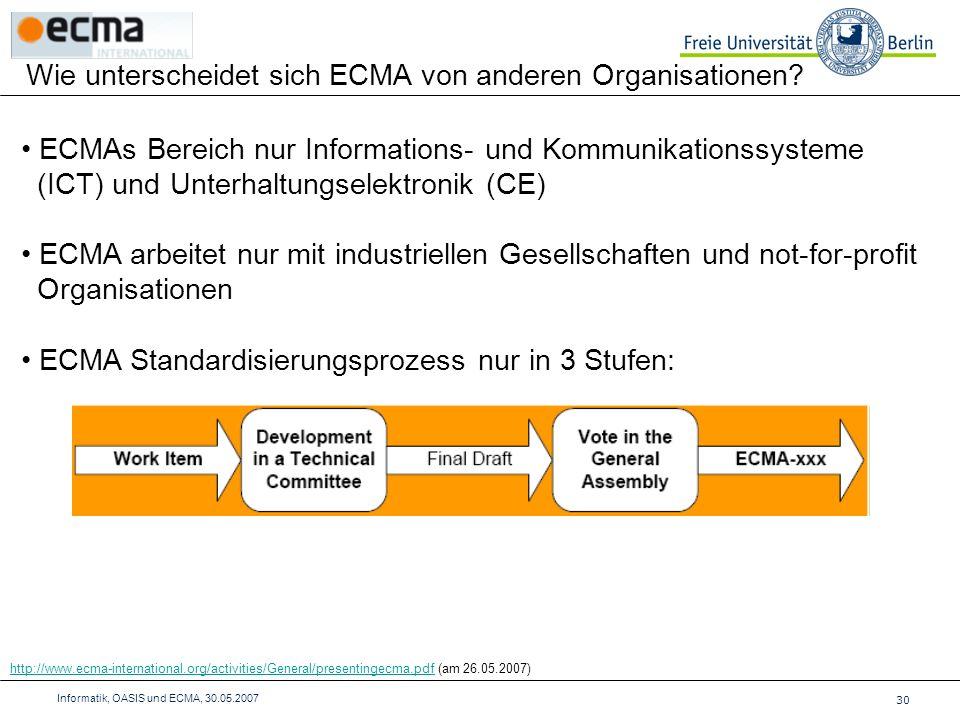 Wie unterscheidet sich ECMA von anderen Organisationen.