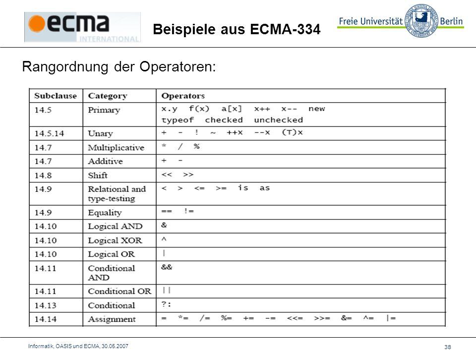 38 Informatik, OASIS und ECMA, 30.05.2007 Rangordnung der Operatoren: Beispiele aus ECMA-334