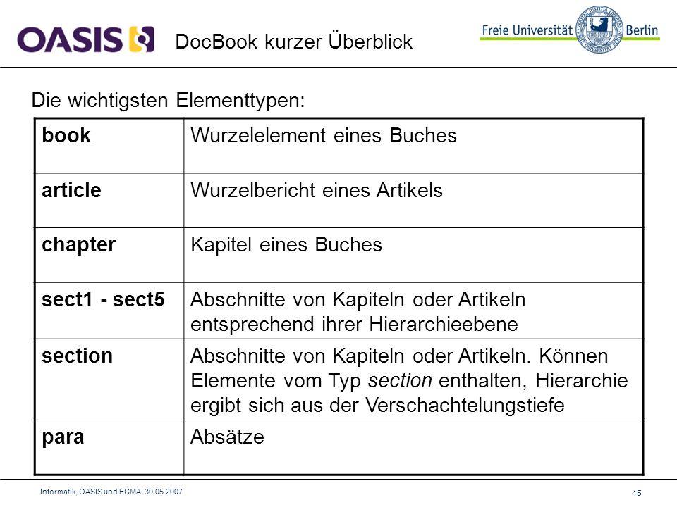 45 Informatik, OASIS und ECMA, 30.05.2007 DocBook kurzer Überblick Die wichtigsten Elementtypen: bookWurzelelement eines Buches articleWurzelbericht eines Artikels chapterKapitel eines Buches sect1 - sect5Abschnitte von Kapiteln oder Artikeln entsprechend ihrer Hierarchieebene sectionAbschnitte von Kapiteln oder Artikeln.