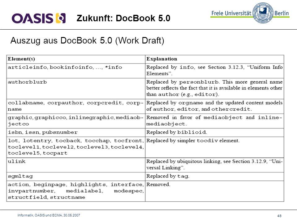 48 Informatik, OASIS und ECMA, 30.05.2007 Zukunft: DocBook 5.0 Auszug aus DocBook 5.0 (Work Draft)