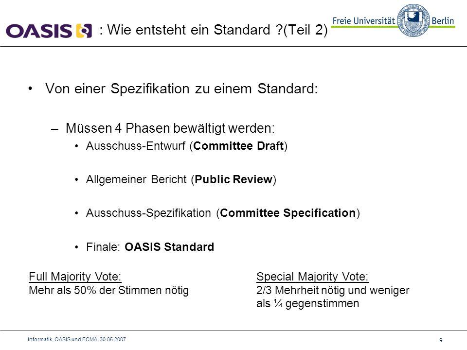 Von einer Spezifikation zu einem Standard: –Müssen 4 Phasen bewältigt werden: Ausschuss-Entwurf (Committee Draft) Allgemeiner Bericht (Public Review) Ausschuss-Spezifikation (Committee Specification) Finale: OASIS Standard : Wie entsteht ein Standard (Teil 2) 9 Informatik, OASIS und ECMA, 30.05.2007 Full Majority Vote: Mehr als 50% der Stimmen nötig Special Majority Vote: 2/3 Mehrheit nötig und weniger als ¼ gegenstimmen