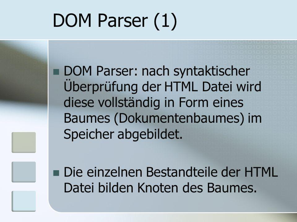 DOM Parser (1) DOM Parser: nach syntaktischer Überprüfung der HTML Datei wird diese vollständig in Form eines Baumes (Dokumentenbaumes) im Speicher ab
