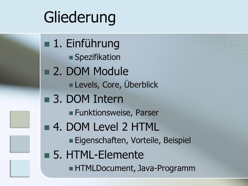 Gliederung 1. Einführung Spezifikation 2. DOM Module Levels, Core, Überblick 3. DOM Intern Funktionsweise, Parser 4. DOM Level 2 HTML Eigenschaften, V