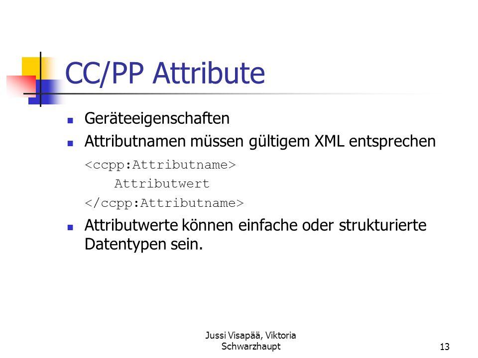 Jussi Visapää, Viktoria Schwarzhaupt13 CC/PP Attribute Geräteeigenschaften Attributnamen müssen gültigem XML entsprechen Attributwert Attributwerte kö