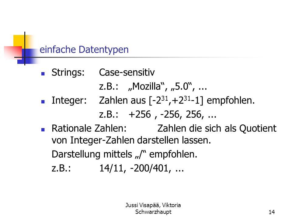 Jussi Visapää, Viktoria Schwarzhaupt14 einfache Datentypen Strings:Case-sensitiv z.B.:Mozilla, 5.0,... Integer:Zahlen aus [-2 31,+2 31 -1] empfohlen.
