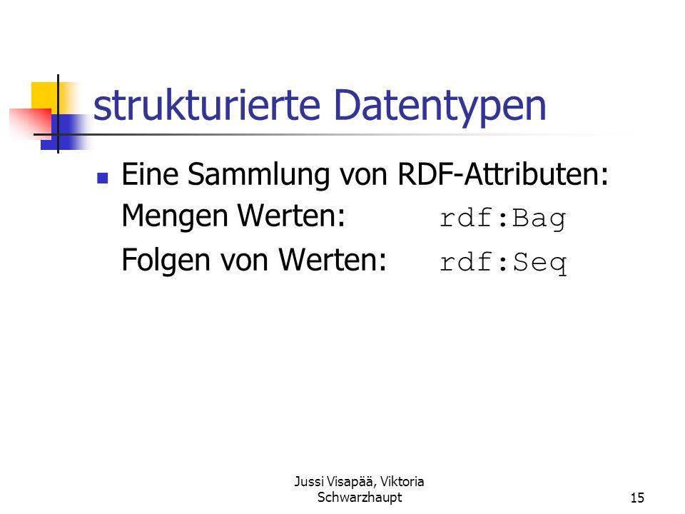 Jussi Visapää, Viktoria Schwarzhaupt15 strukturierte Datentypen Eine Sammlung von RDF-Attributen: Mengen Werten: rdf:Bag Folgen von Werten: rdf:Seq
