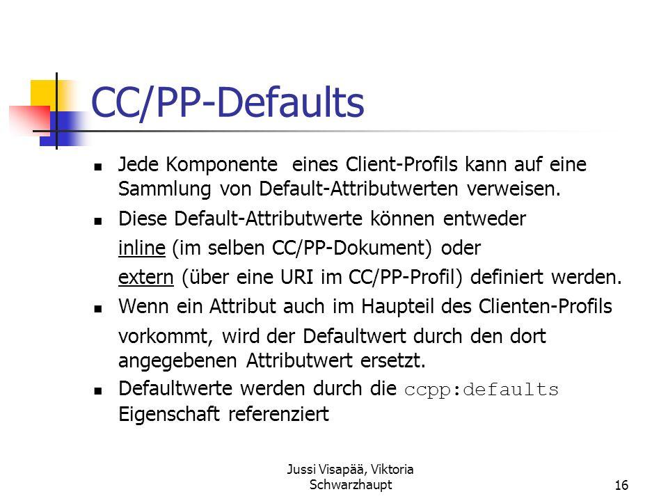 Jussi Visapää, Viktoria Schwarzhaupt16 CC/PP-Defaults Jede Komponente eines Client-Profils kann auf eine Sammlung von Default-Attributwerten verweisen