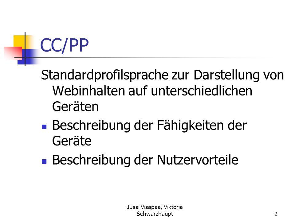 Jussi Visapää, Viktoria Schwarzhaupt2 CC/PP Standardprofilsprache zur Darstellung von Webinhalten auf unterschiedlichen Geräten Beschreibung der Fähig