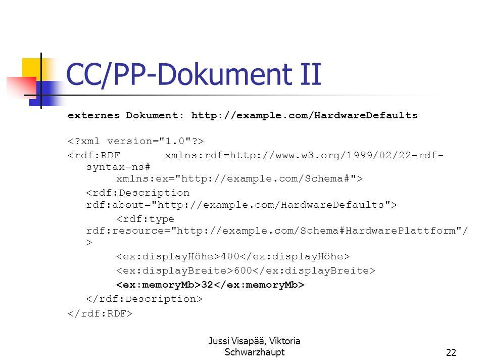 Jussi Visapää, Viktoria Schwarzhaupt22 CC/PP-Dokument II externes Dokument: http://example.com/HardwareDefaults 400 600 32