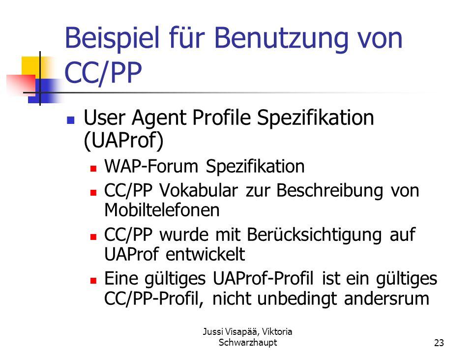 Jussi Visapää, Viktoria Schwarzhaupt23 Beispiel für Benutzung von CC/PP User Agent Profile Spezifikation (UAProf) WAP-Forum Spezifikation CC/PP Vokabu