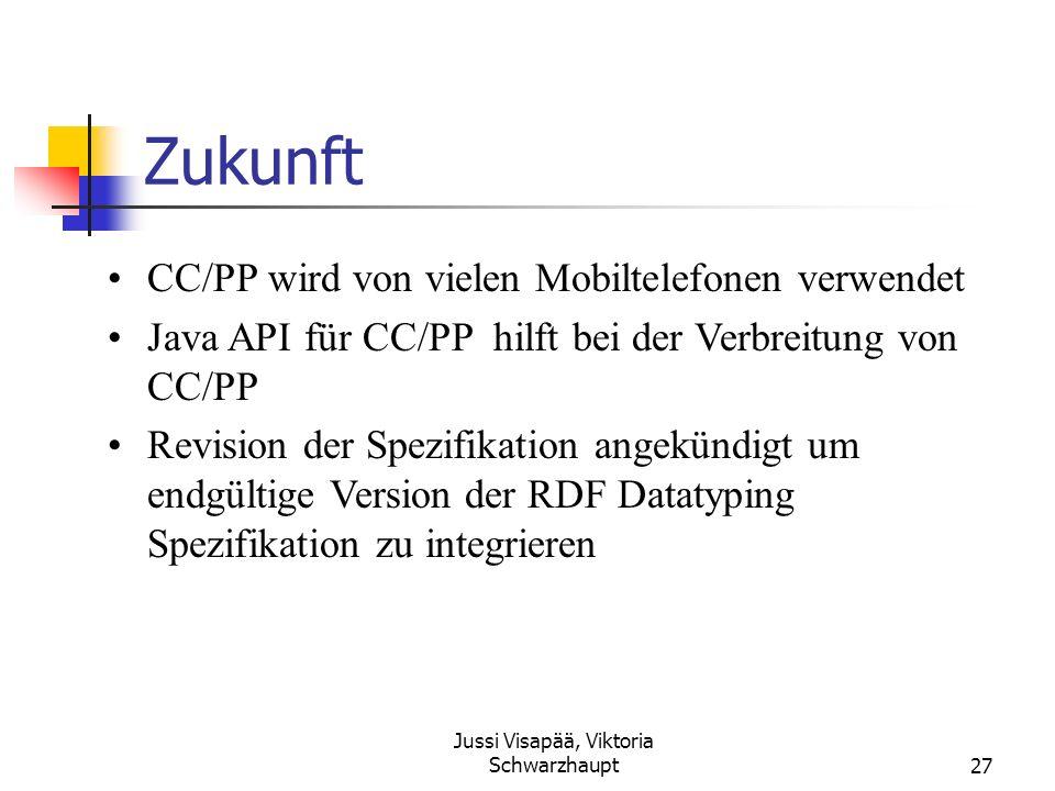 Jussi Visapää, Viktoria Schwarzhaupt27 Zukunft CC/PP wird von vielen Mobiltelefonen verwendet Java API für CC/PP hilft bei der Verbreitung von CC/PP R