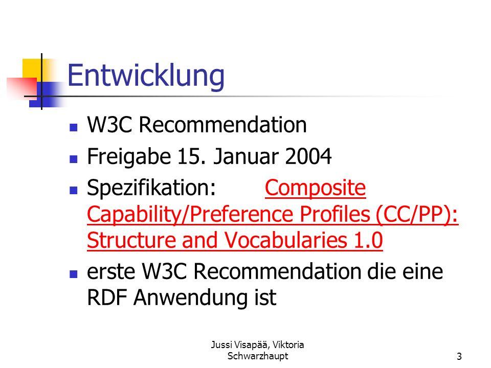 Jussi Visapää, Viktoria Schwarzhaupt3 Entwicklung W3C Recommendation Freigabe 15. Januar 2004 Spezifikation:Composite Capability/Preference Profiles (