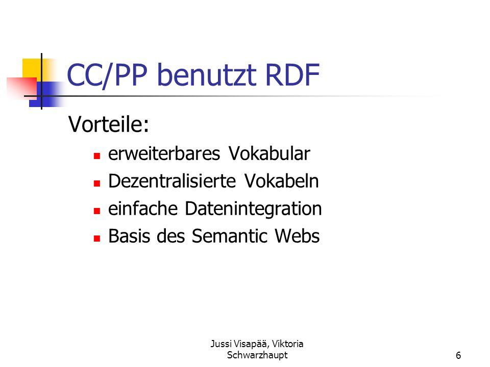 Jussi Visapää, Viktoria Schwarzhaupt6 CC/PP benutzt RDF Vorteile: erweiterbares Vokabular Dezentralisierte Vokabeln einfache Datenintegration Basis de