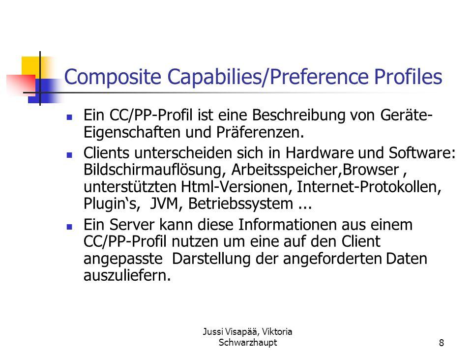 Jussi Visapää, Viktoria Schwarzhaupt8 Composite Capabilies/Preference Profiles Ein CC/PP-Profil ist eine Beschreibung von Geräte- Eigenschaften und Pr