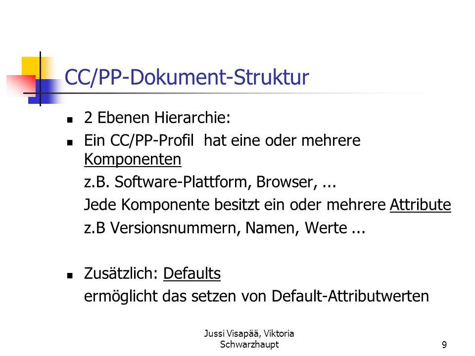 Jussi Visapää, Viktoria Schwarzhaupt9 CC/PP-Dokument-Struktur 2 Ebenen Hierarchie: Ein CC/PP-Profil hat eine oder mehrere Komponenten z.B. Software-Pl