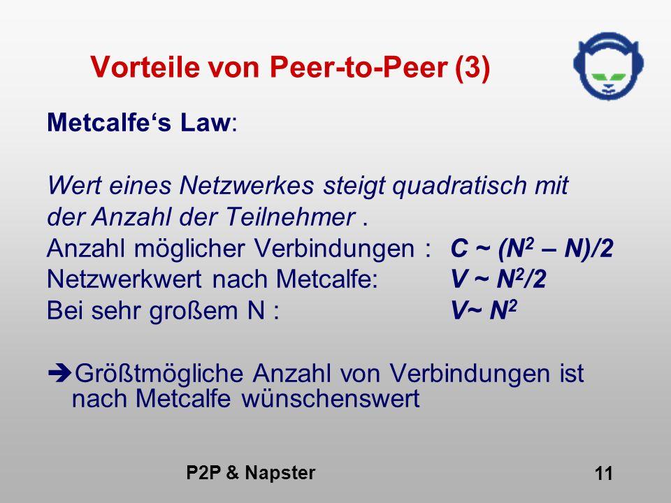 P2P & Napster 11 Vorteile von Peer-to-Peer (3) Metcalfes Law: Wert eines Netzwerkes steigt quadratisch mit der Anzahl der Teilnehmer. Anzahl möglicher