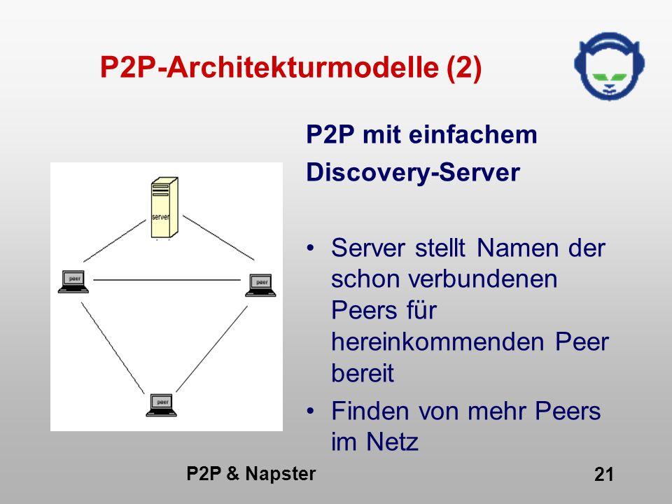 P2P & Napster 21 P2P-Architekturmodelle (2) P2P mit einfachem Discovery-Server Server stellt Namen der schon verbundenen Peers für hereinkommenden Pee