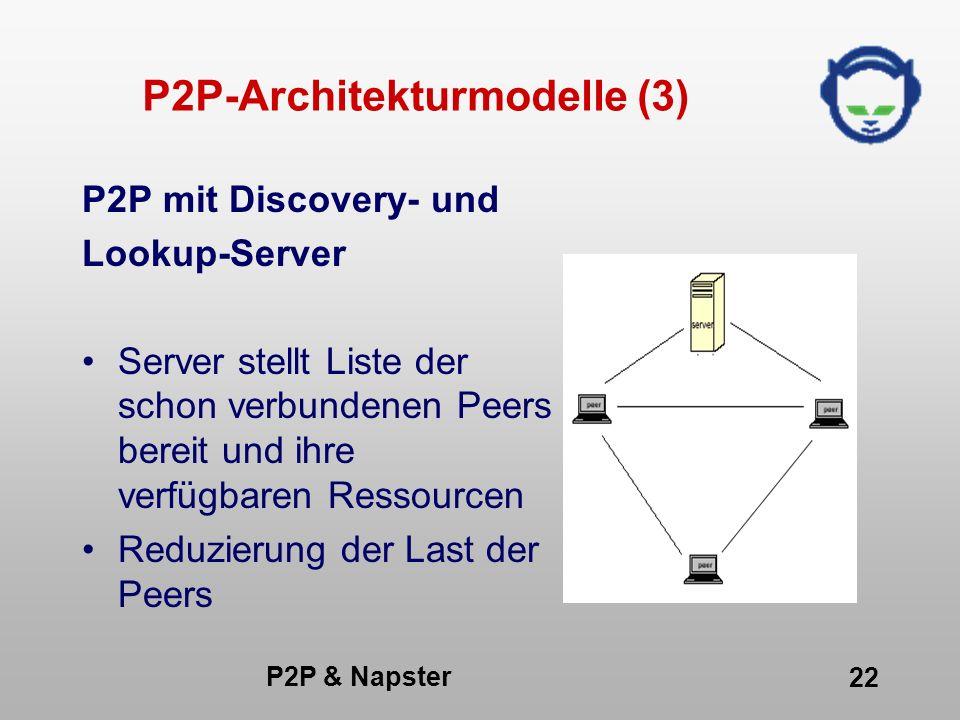 P2P & Napster 22 P2P-Architekturmodelle (3) P2P mit Discovery- und Lookup-Server Server stellt Liste der schon verbundenen Peers bereit und ihre verfü