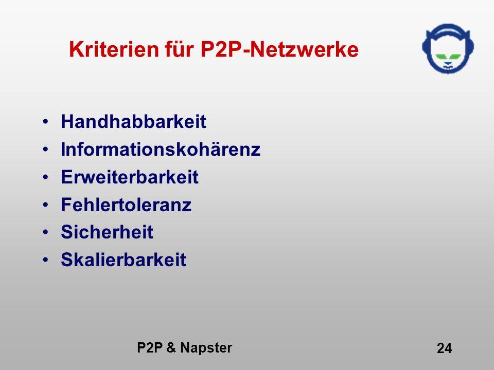 P2P & Napster 24 Kriterien für P2P-Netzwerke Handhabbarkeit Informationskohärenz Erweiterbarkeit Fehlertoleranz Sicherheit Skalierbarkeit