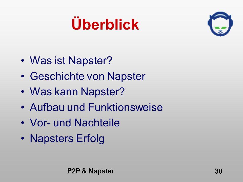 P2P & Napster 30 Überblick Was ist Napster? Geschichte von Napster Was kann Napster? Aufbau und Funktionsweise Vor- und Nachteile Napsters Erfolg