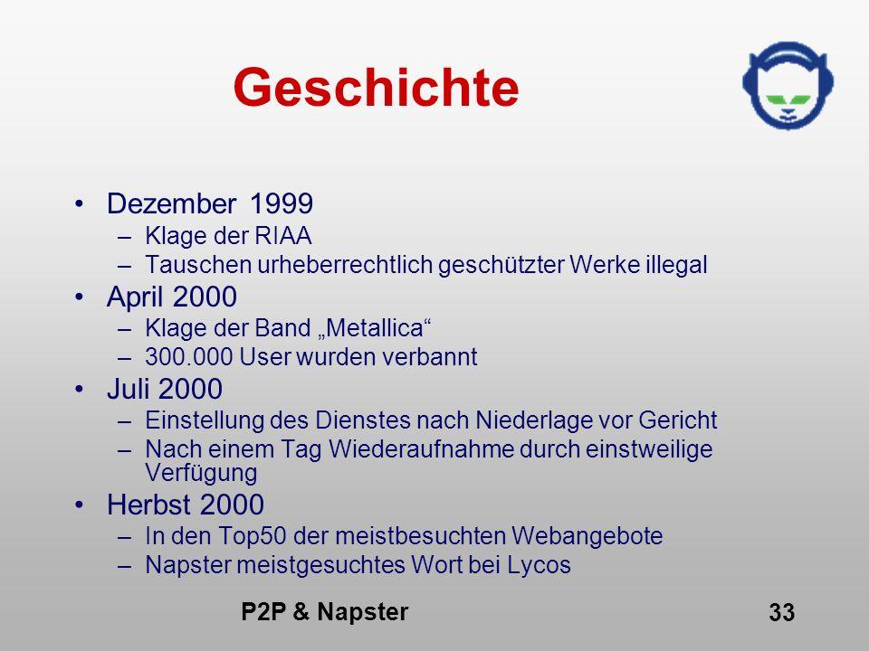 P2P & Napster 33 Geschichte Dezember 1999 –Klage der RIAA –Tauschen urheberrechtlich geschützter Werke illegal April 2000 –Klage der Band Metallica –3