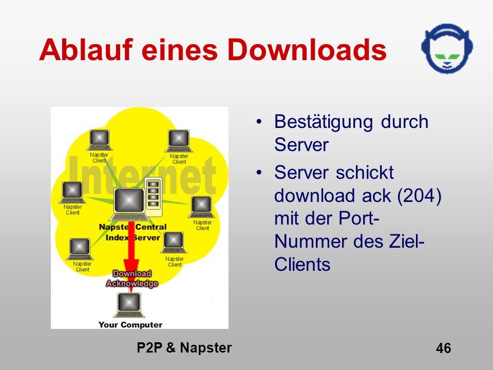 P2P & Napster 46 Ablauf eines Downloads Bestätigung durch Server Server schickt download ack (204) mit der Port- Nummer des Ziel- Clients