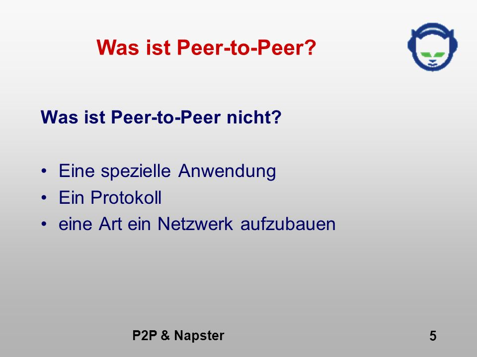 P2P & Napster 36 Was kann Napster.