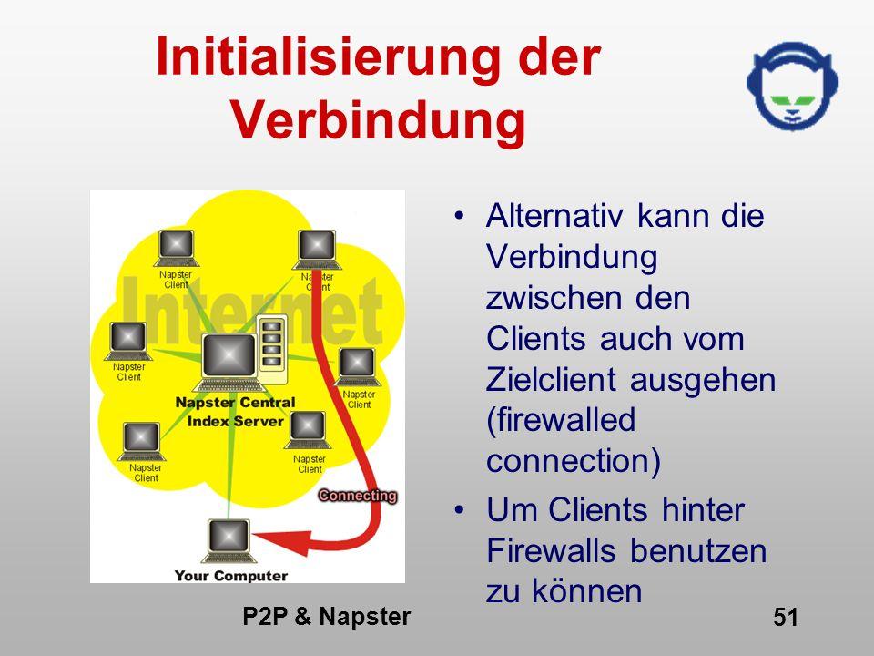 P2P & Napster 51 Initialisierung der Verbindung Alternativ kann die Verbindung zwischen den Clients auch vom Zielclient ausgehen (firewalled connectio
