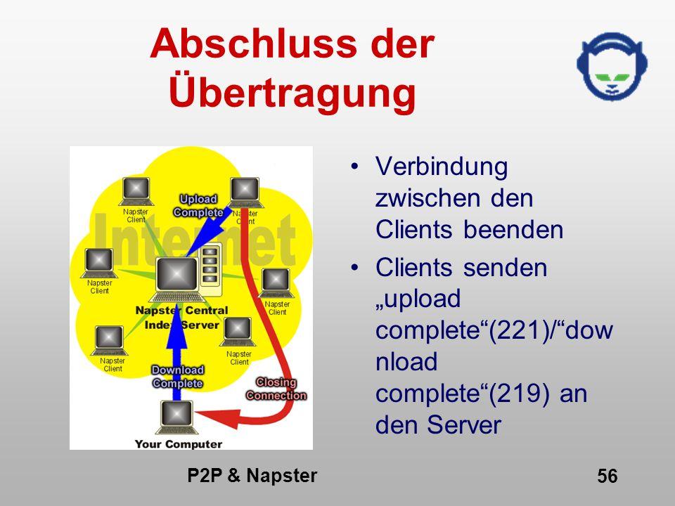 P2P & Napster 56 Abschluss der Übertragung Verbindung zwischen den Clients beenden Clients senden upload complete(221)/dow nload complete(219) an den