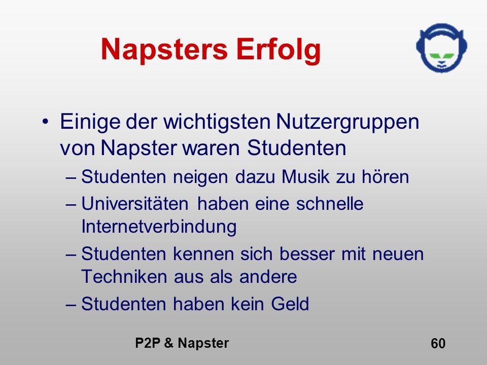 P2P & Napster 60 Napsters Erfolg Einige der wichtigsten Nutzergruppen von Napster waren Studenten –Studenten neigen dazu Musik zu hören –Universitäten
