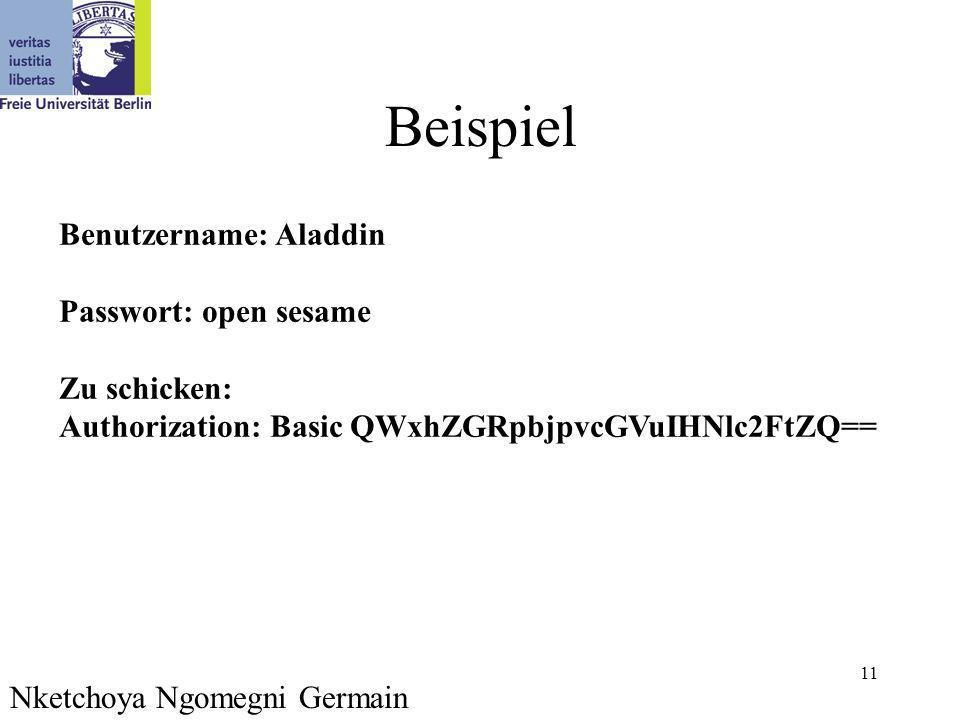 11 Beispiel Nketchoya Ngomegni Germain Benutzername: Aladdin Passwort: open sesame Zu schicken: Authorization: Basic QWxhZGRpbjpvcGVuIHNlc2FtZQ==
