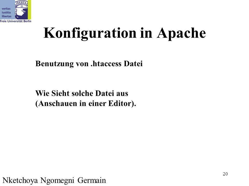 20 Konfiguration in Apache Benutzung von.htaccess Datei Wie Sieht solche Datei aus (Anschauen in einer Editor). Nketchoya Ngomegni Germain