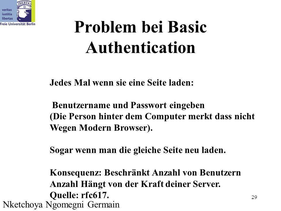 29 Problem bei Basic Authentication Jedes Mal wenn sie eine Seite laden: Benutzername und Passwort eingeben (Die Person hinter dem Computer merkt dass