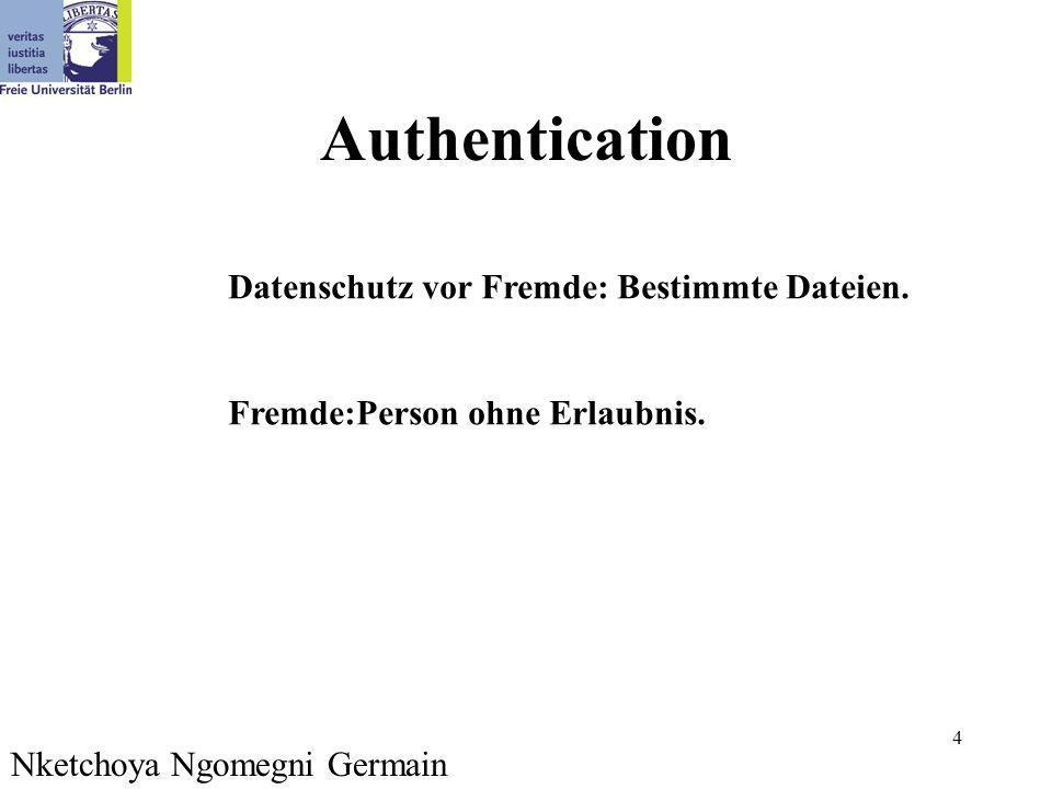 4 Authentication Nketchoya Ngomegni Germain Datenschutz vor Fremde: Bestimmte Dateien. Fremde:Person ohne Erlaubnis.