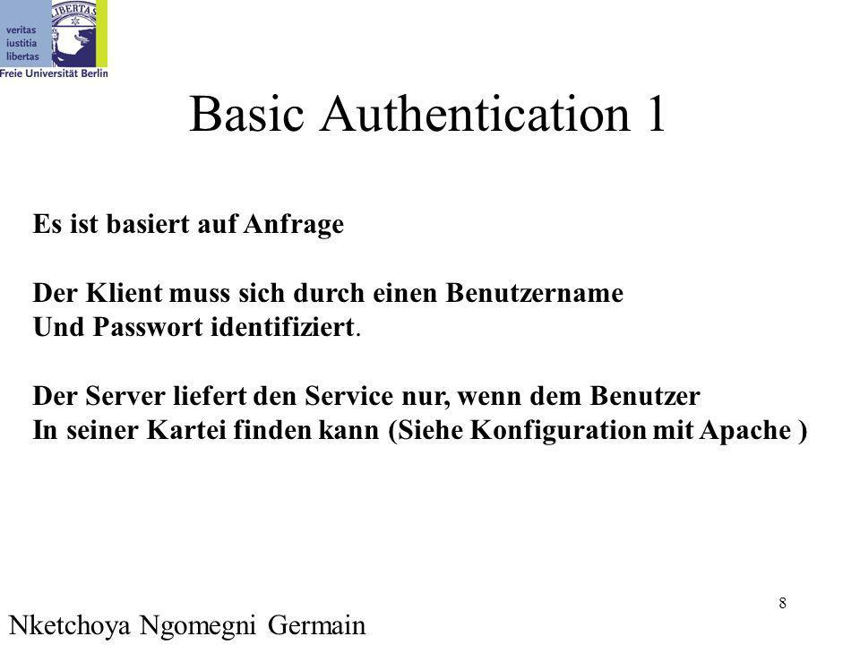 8 Basic Authentication 1 Es ist basiert auf Anfrage Der Klient muss sich durch einen Benutzername Und Passwort identifiziert. Der Server liefert den S