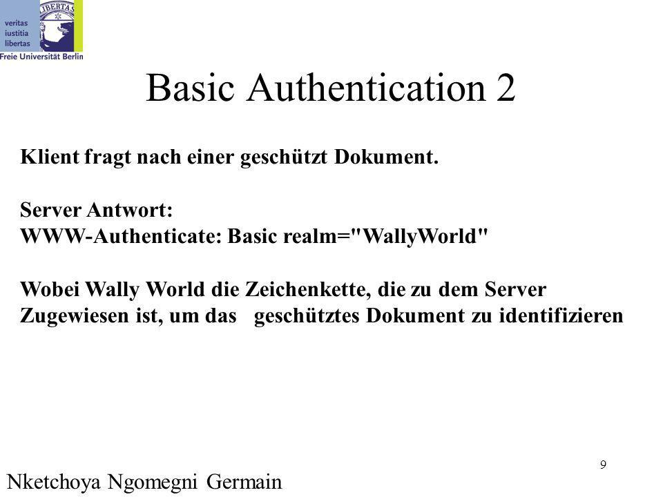 9 Basic Authentication 2 Nketchoya Ngomegni Germain Klient fragt nach einer geschützt Dokument.