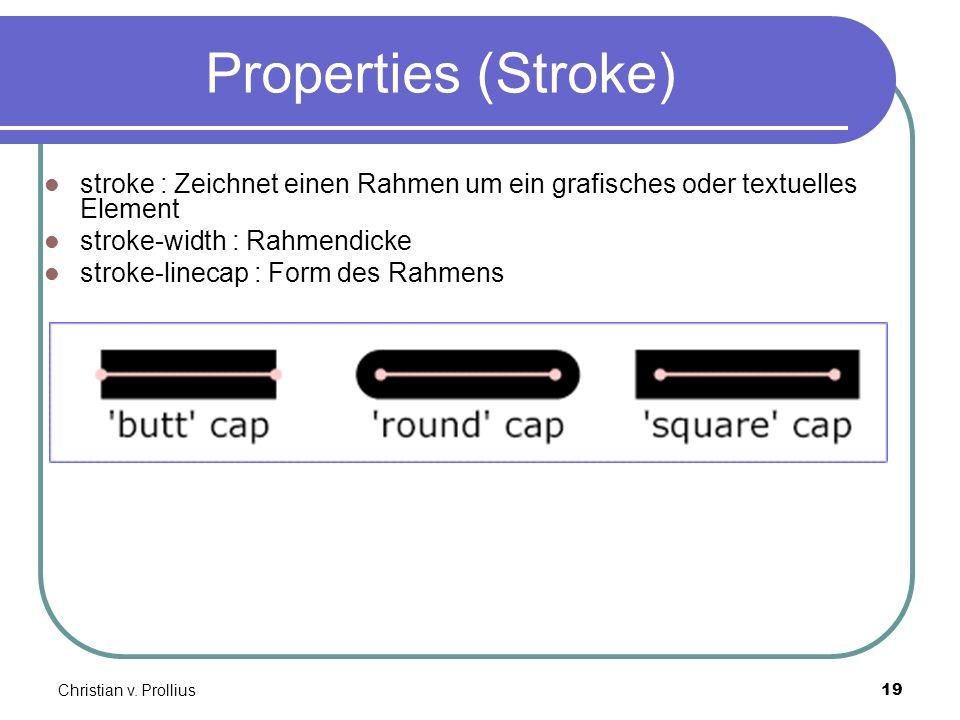 Christian v. Prollius19 Properties (Stroke) stroke : Zeichnet einen Rahmen um ein grafisches oder textuelles Element stroke-width : Rahmendicke stroke