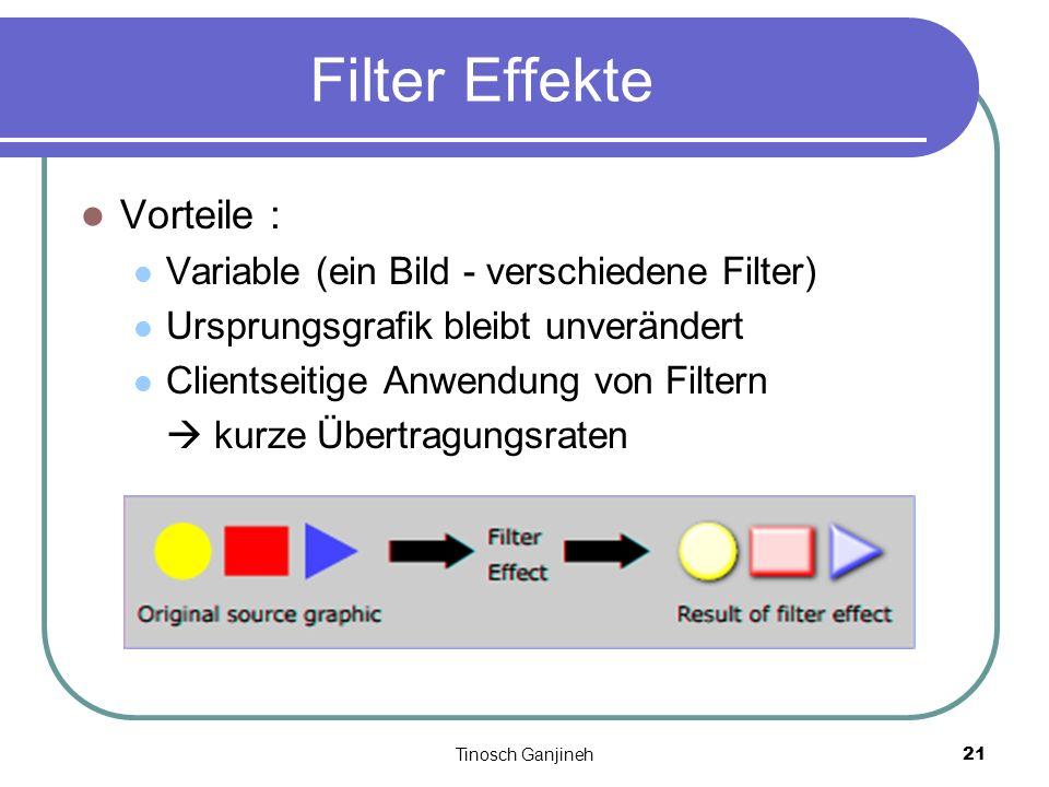 Tinosch Ganjineh21 Filter Effekte Vorteile : Variable (ein Bild - verschiedene Filter) Ursprungsgrafik bleibt unverändert Clientseitige Anwendung von
