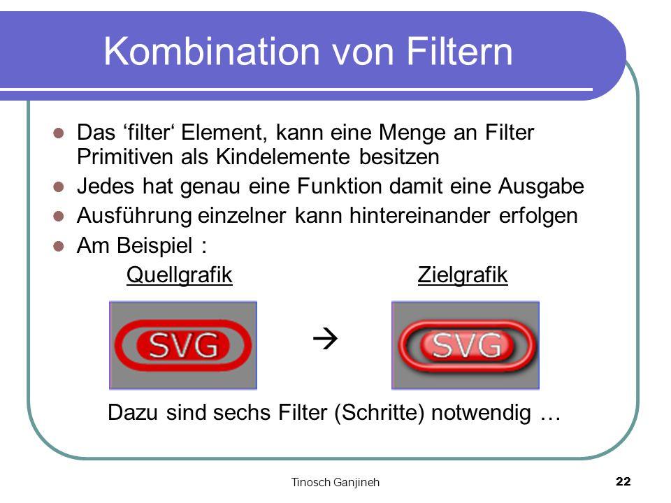 Tinosch Ganjineh22 Kombination von Filtern Das filter Element, kann eine Menge an Filter Primitiven als Kindelemente besitzen Jedes hat genau eine Fun