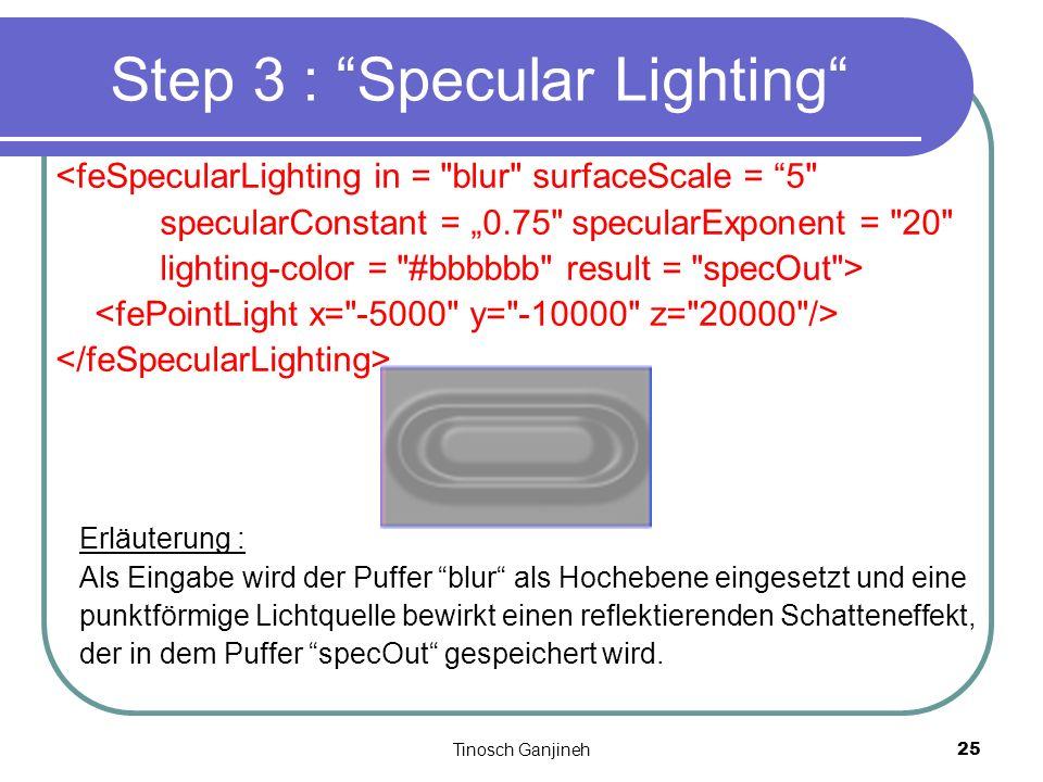 Tinosch Ganjineh25 Step 3 : Specular Lighting <feSpecularLighting in =