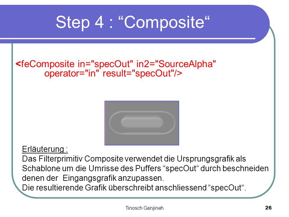 Tinosch Ganjineh26 Step 4 : Composite Erläuterung : Das Filterprimitiv Composite verwendet die Ursprungsgrafik als Schablone um die Umrisse des Puffer