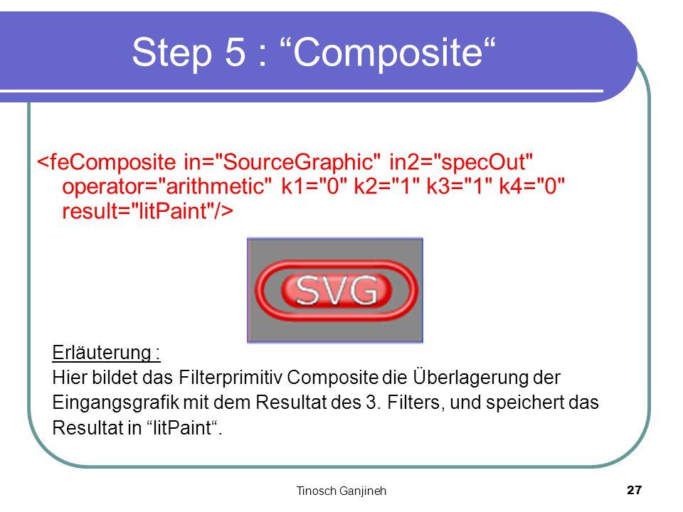 Tinosch Ganjineh27 Step 5 : Composite Erläuterung : Hier bildet das Filterprimitiv Composite die Überlagerung der Eingangsgrafik mit dem Resultat des