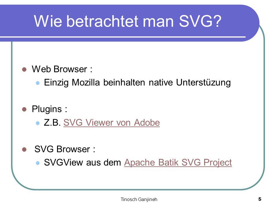 Tinosch Ganjineh5 Wie betrachtet man SVG? Web Browser : Einzig Mozilla beinhalten native Unterstüzung Plugins : Z.B. SVG Viewer von AdobeSVG Viewer vo
