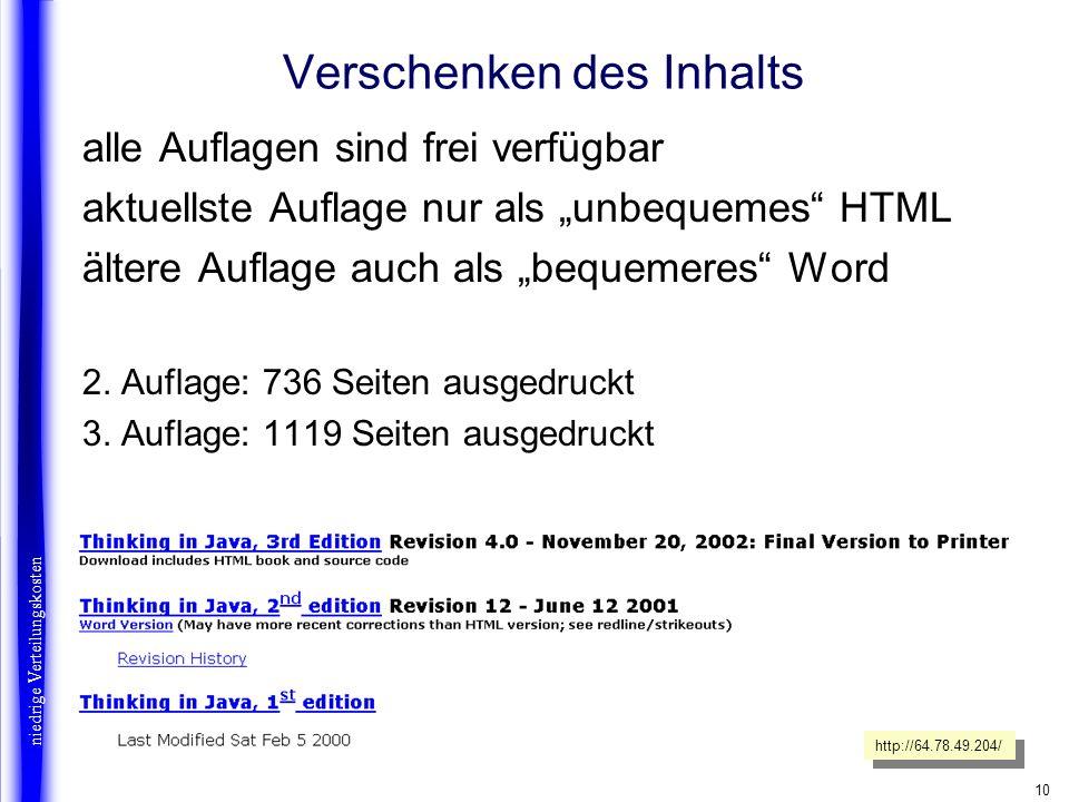 10 Verschenken des Inhalts alle Auflagen sind frei verfügbar aktuellste Auflage nur als unbequemes HTML ältere Auflage auch als bequemeres Word 2. Auf